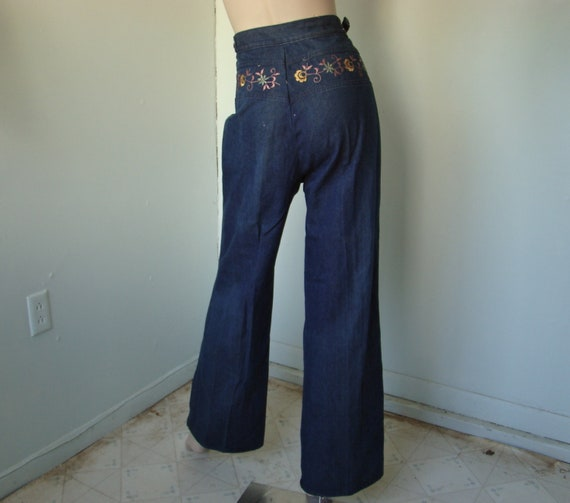 High Waist Jeans- Floral Embroidery- Wide Leg- Vintage, 1970's Style