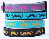 The Hipster - Mustache Dog Collar / Adjustable / Pet Accessories / Handmade / Handlebar Mustache / Collars