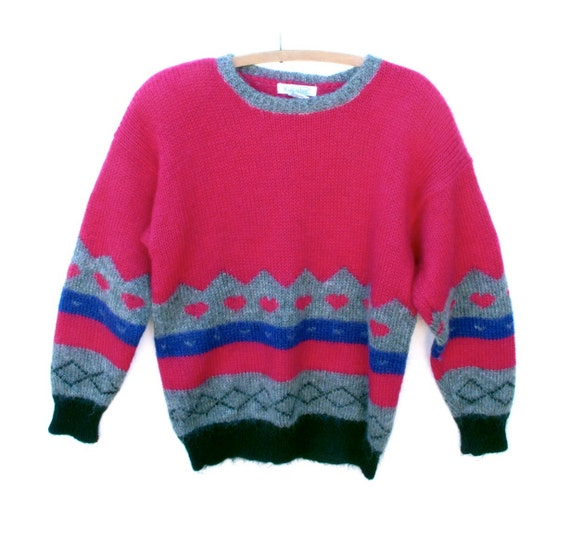 80s Vintage Sweater Mohair Acrylic Blend Long Roomy size M Lg Hot Pink