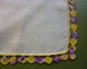 SALE Vintage Linen Handkerchief With Purple and Yellow Flowers Crocheted Border