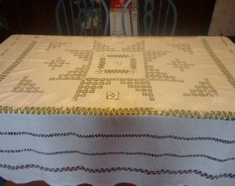 SALE Vintage White Linen Cutwork Tablecloth 80 X 90, Thanksgiving, Christmas