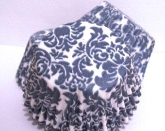 Steel Blue Damask Cupcake Liners- Choose Set of 50 or 100