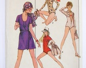 Vintage Simplicity Pattern 8880 - Body-Suit and Mini-Front Wrap Skirt - UNCUT Size 14, Bust 36""