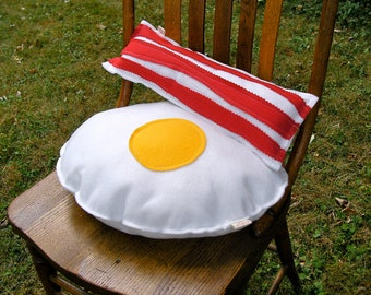 Eggs and Bacon Pillows Plush Set