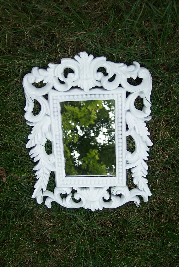 Mirror White Plaster Scroll Work Victorian Look Wall Hanging