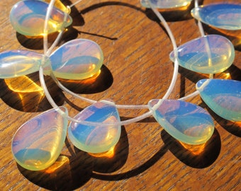 Sea opal large drops opalite very good quality and glow 6 pieces 18 x 25mm