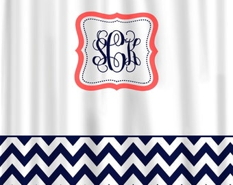 Custom Shower Curtain -Color with White and accent if desired - with or without monogram