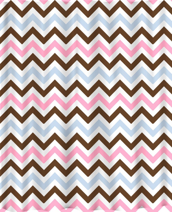 Custom Colors Shower Curtain -Chevron Brown White Pastel Pink and Baby Blue and pink-black-white