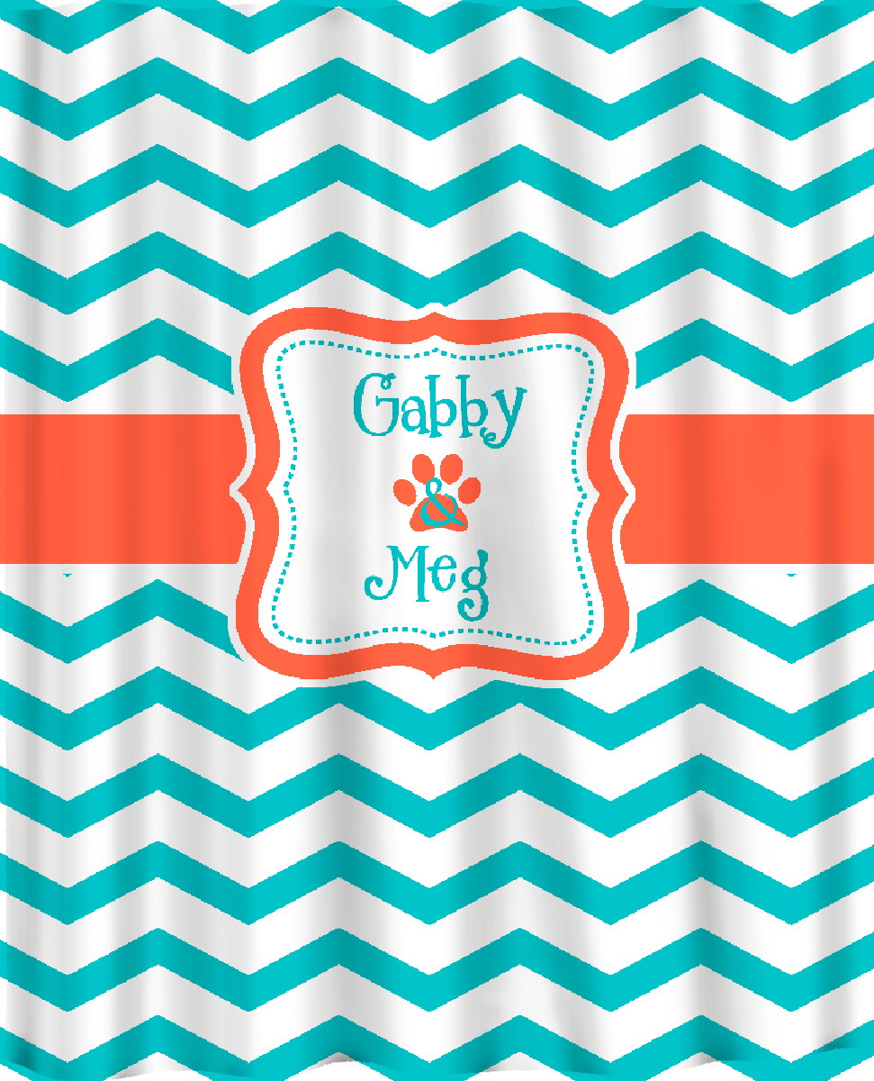 Custom Personalized Chevron Shower Curtain Aqua Or By Redbeauty