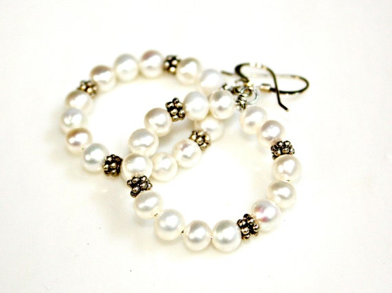 White Pearl Hoop Earrings - Perfect Wedding Party or For the Bride Creamy White and Sterling Silver Hoops by Mei Faith