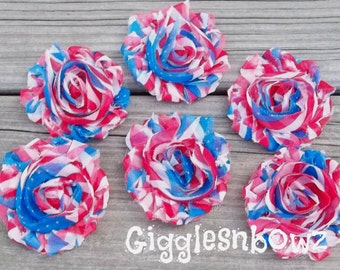 Set of SIX Shabby Frayed Vintage look Chiffon Rosette Flowers- Flag Print