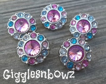 Sale!! Rhinestone Button 5 Pc CoTToN CaNDY Pinks and Blues Acrylic Rhinestone Buttons 18mm Flower Centers, Diy Headband and Hairbow Supplies