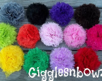Single Fluffy SNoWBaLL Shabby Frayed Chiffon Puff Flowers- Choose your Color
