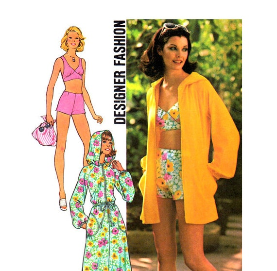 1970s Cover Up & Two Piece Bathing Suit Vintage Pattern Bust 38 Simplicity 6969