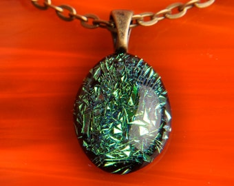 Handmade Dichroic Fused Glass Pendant Necklace ...with bronze chain...