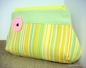 Handmade Purse with Poppy Flower - Yellow Stripes Clutch.everyday purse.small purse.bridesmaid gift.women gift.makeup purse.ready to ship