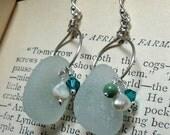 SEASIDE Aqua Sea Glass Earrings - Pearls & Turquoise - Sterling Silver Dangles