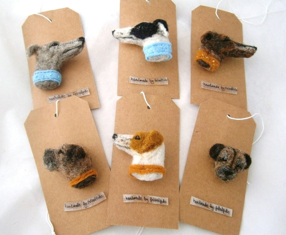 Needle Felted Dog Brooch/Pin