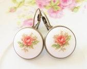 Pink Rose Earrings - Vintage Porcelain Rose Flower Antique Brass Lever Back Drop Dangles - Pink Romantic Wedding, Bridal Bridesmaid Earrings
