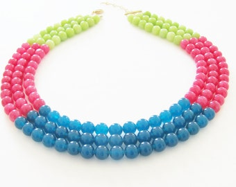 SALE Color Block Necklace Teal Blue, Berry Pink, and Apple Green Dyed Jade Multi Color Statement Necklace