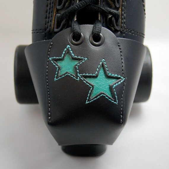 Leather Toe Guards with Double Teal Stars