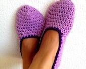 Crochet Womens Slippers, Ballet Flats, House Shoes