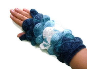 Multi color  Aquamarine Blue sapphire white yarn Fingerless Mittens Gloves