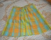 Adorable XS neon plaid 60s mini skirt