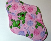 Menstrual Cloth Mama Cloth Mama Pad Reusable Sanitary Pad with PUL lining pink lavender frogs - size L/L Plus