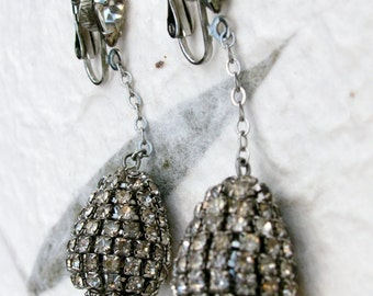 Long Glamorous Teardrop or Pear Shape Rhinestone Earrings