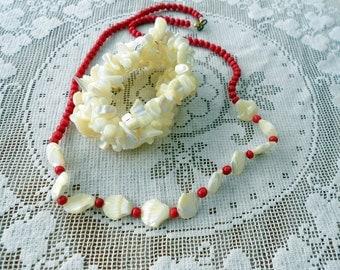 Vintage MOP pearl Bracelet and Necklace set Carved Shells