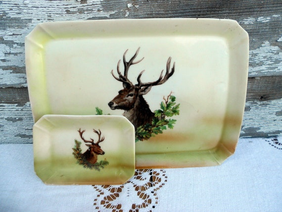 Antique German Hand painted Plate set of a Deer Buck Large plate and small