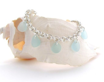 Beach Glass/Sea Glass Bracelet in Baby Blue