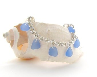 Beach Glass/Sea Glass Bracelet in Cornflower Blue