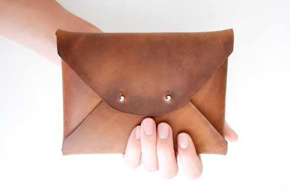 SALE  Waxed Leather Clutch