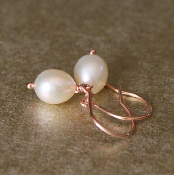 Rose Gold Pearl Earrings Cream Teardrop Freshwater Pearl Bridal Jewelry