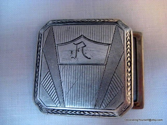 reserved...1920s Art Deco Belt Buckle Sterling Silver 23g Engraved Initial R