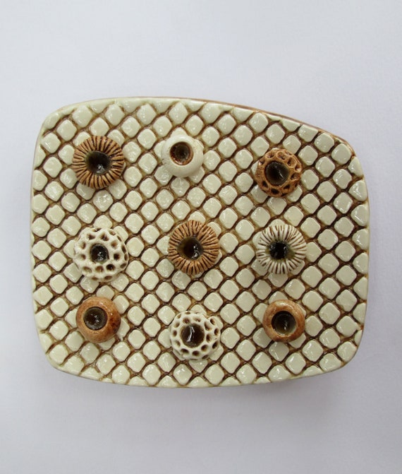 Coffee Brown and Cream Square Ceramic Soap Dish with Spore Pod Soap Holders and Recycled Glass