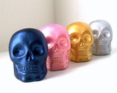 Ceramic Skulls Metallics Blue Gold Pink Silver Halloween Day of the Dead Modern Painted Home Decor - MADE TO ORDER