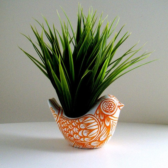 Ceramic Bird Planter Orange White Spring Home Decor Folk Art Vase Tattoo Tangerine Hand Painted - MADE TO ORDER