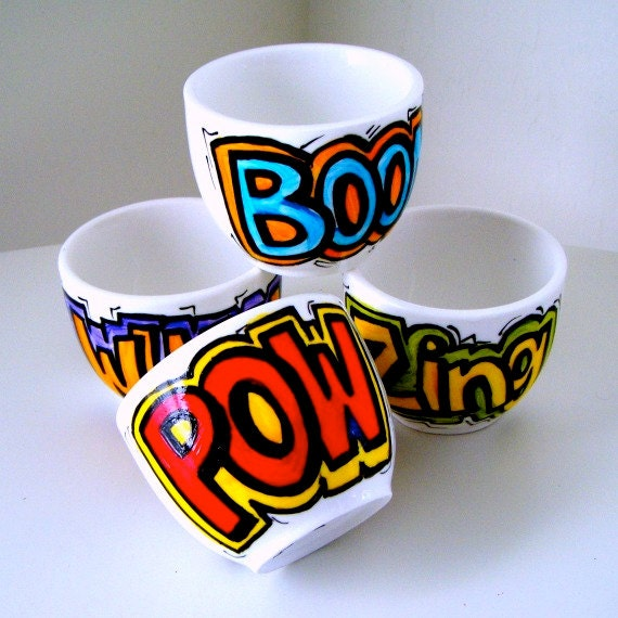 Ceramic Cup Set Sake Cup Comic Book Sound FX Geekery shot glasses Hand Painted Pow Boom - Made to order