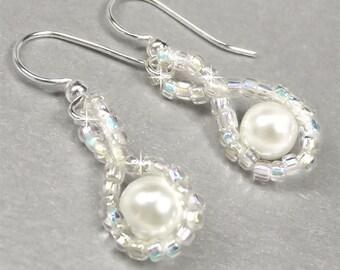 Pearl Flower Girl Earrings, White Pearl Hugs and Kisses Design, Little Girl Earrings, Junior Bridesmaid Jewelry - Regan (WFG0098)