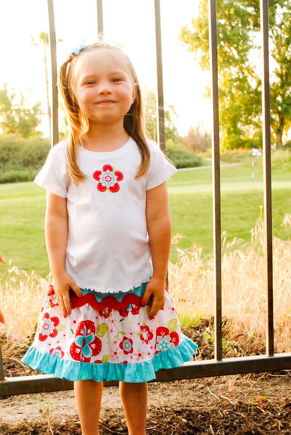 Summer Clearance SALE- Back in stock- Girl's Boutique Outfit - Ric-Rac Twirl Skirt and Applique Tee - Red and Aqua
