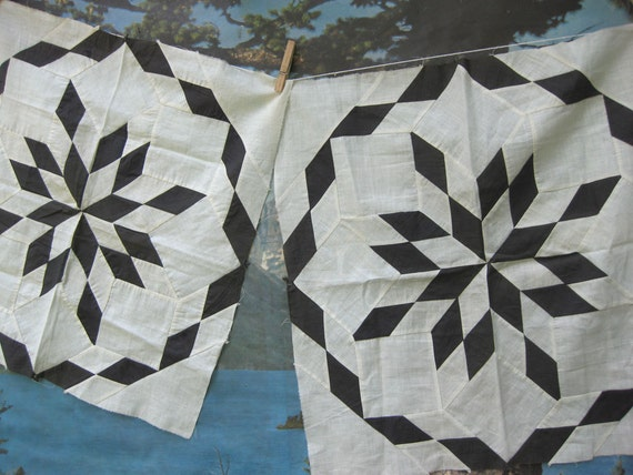 Black and White Vintage Quilt Squares