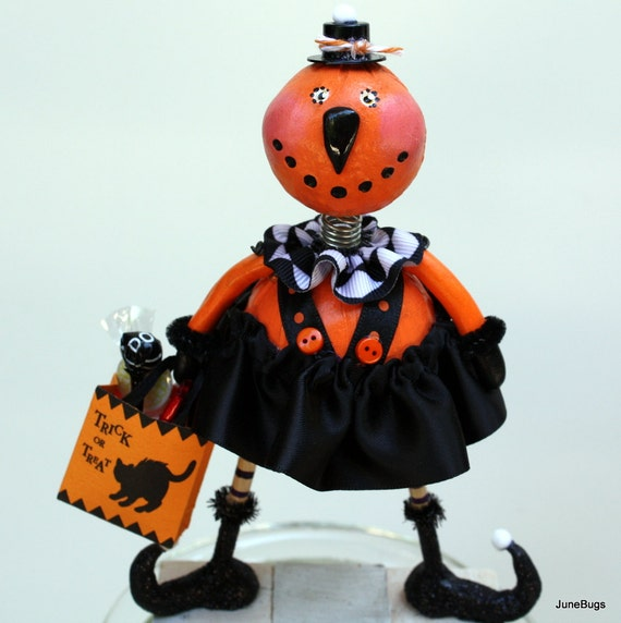 Halloween Pumpkin Folk Art Doll Sculpted Collectible