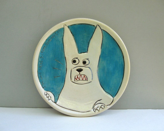 Rabbit Plate With Angry Bunny, Blue