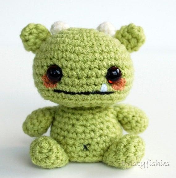 Amigurumi Baby Monsters : Baby Monster Amigurumi Green by twistyfishies on Etsy