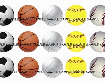 INSTANT DOWNLOAD...Editable Sports Balls..... 1 Inch Circle Image Collage for Bottle Caps...Buy 3 get 1