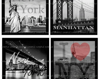 INSTANT DOWNLOAD...I Love New York.... 4 Inch Square Image Collage for Coasters...Buy 3 get 1