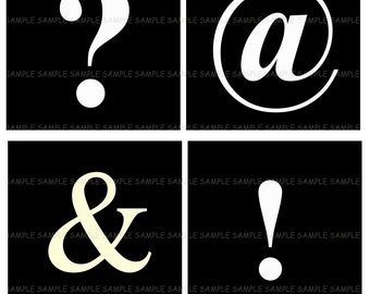 Punctuation Marks.... 4 Inch Square Image Collage for Coasters...Buy 3 get 1
